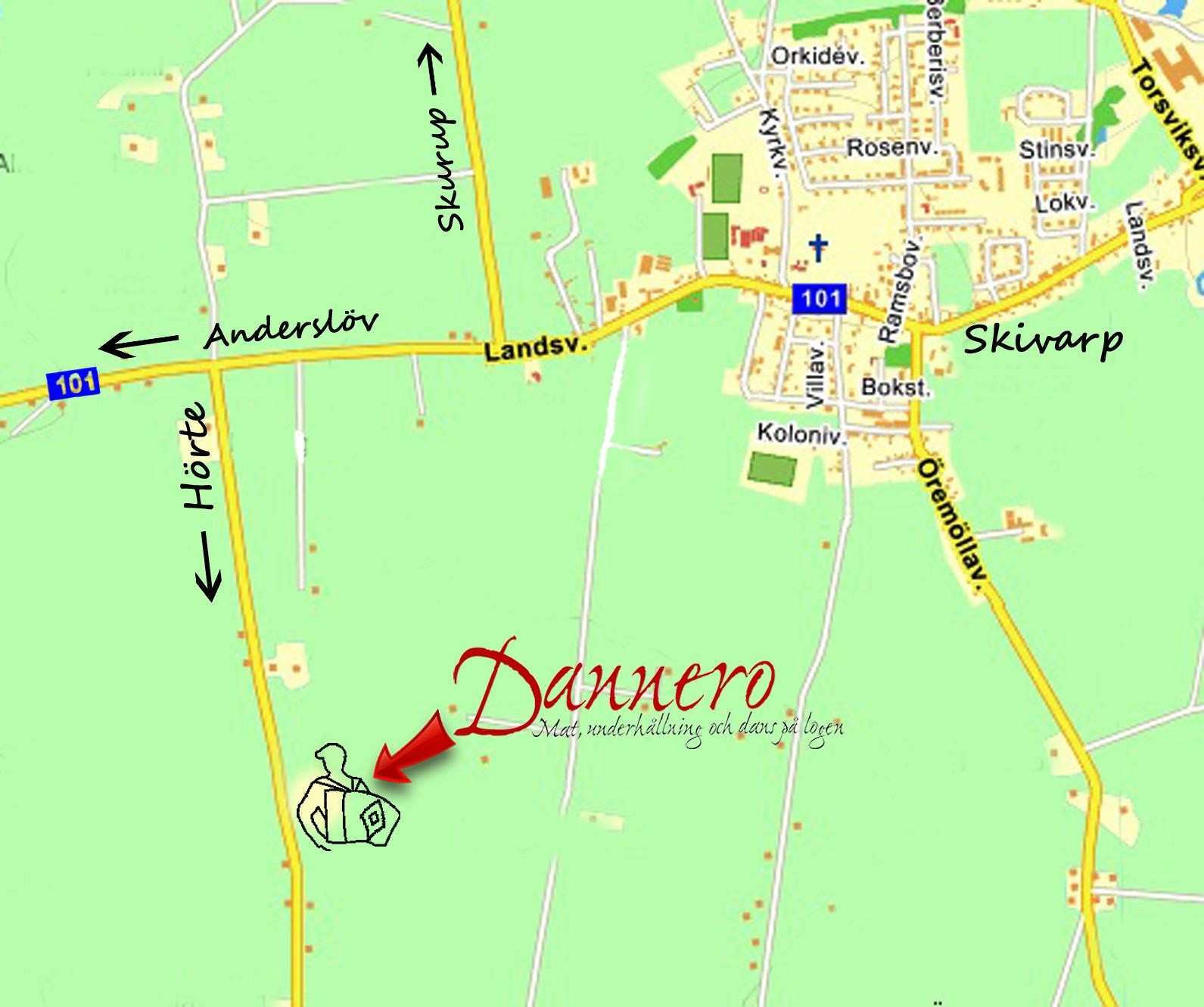 Karta till Dannero